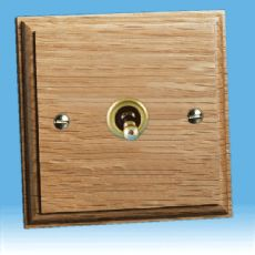 Varilight Kilnwood 1 Gang 1 or 2 Way 10A Dolly Toggle Switch, Oak Finish XKT1O